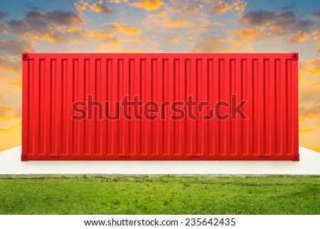 Container on concrete pedestal with sky background. - stock photo
