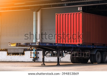 container on the truck in cargo, Transportation and shipping background. rim light added - stock photo