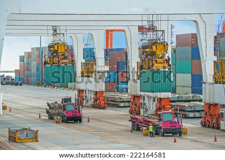 container operation in sea port - stock photo