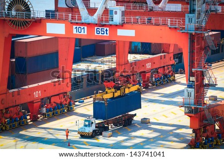 container operation in shanghai sea port - stock photo