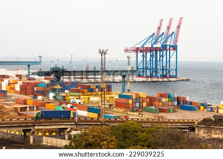 container port - stock photo