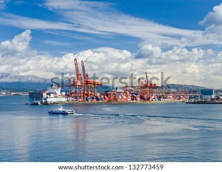Container port terminal in Vancouver, Canada. - stock photo