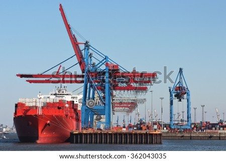 container ship at container terminal