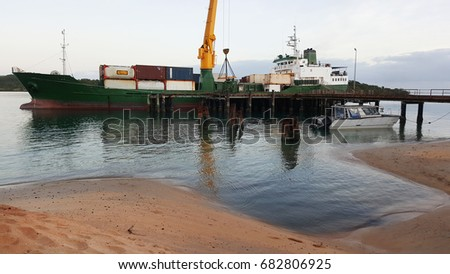 container ship at Seisia wharf Cape York Australia