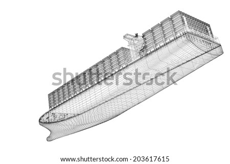 Container Ship Cargo 3D model body structure, wire model