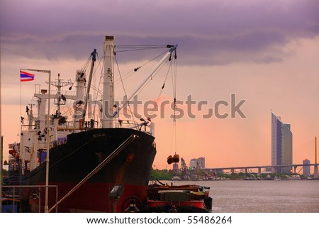 Container ship in Chao Phraya River Thailand
