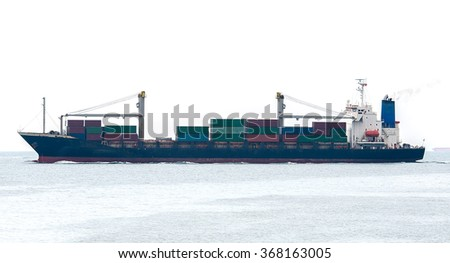 container ship in import,export port against of loading ship yard use for freight and cargo shipping vessel  - stock photo