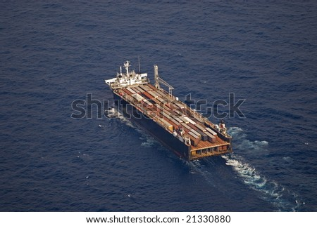Container Ship in the gulf - stock photo