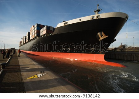 container ship in the harbor - stock photo