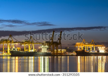 container ship in the harbor of rotterdam netherlands - stock photo