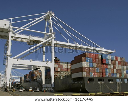 Container Ship Loading/Unloading - stock photo