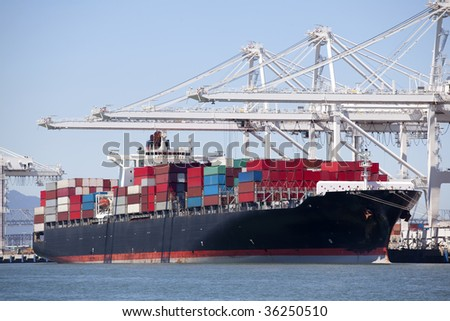 Container Ship Moored - stock photo