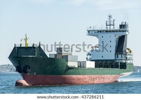 Container ship near Kiel, Germany - stock photo