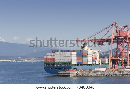 Container Ship on commercial Dock - Port of Vancouver, British Columbia, Canada - stock photo