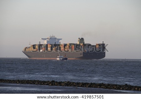 Container ship on the water