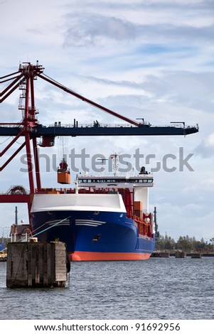 Container Ship. Port of Gdansk, Poland. - stock photo
