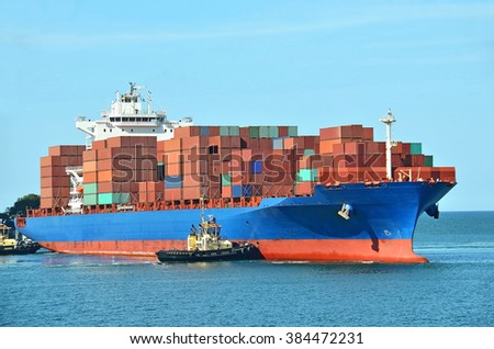 Container stack on freight ship in Black sea, Odessa, Ukraine - stock photo