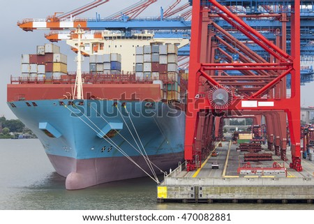 Container terminal in Hamburg, Germany