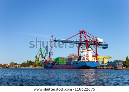 Container terminal in port of Gdansk, Poland. - stock photo