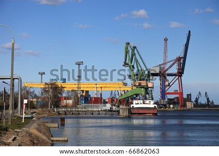 Container terminal in port of Gdansk, Poland.