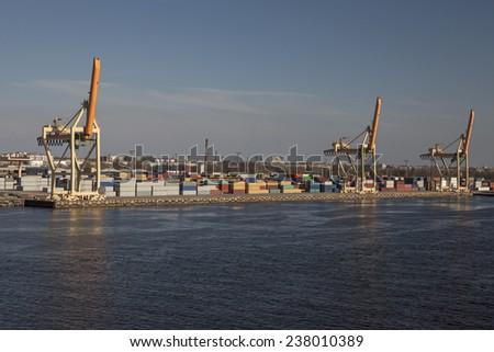 Container terminal in Riga city port, Latvia, Europe. - stock photo