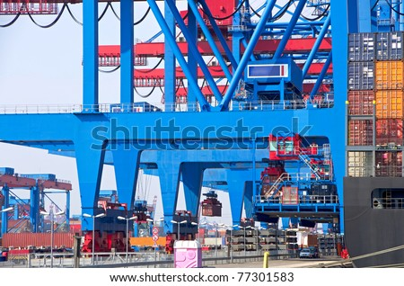 container terminal in the hamburg harbor germany - stock photo
