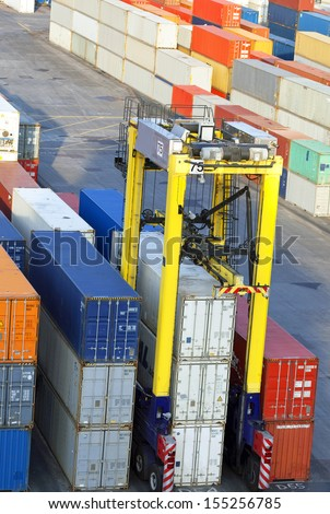 Container terminal in Tilbury, Great Britain - stock photo