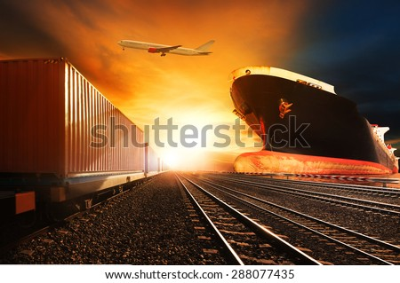 container trains ,commercial ship on port freight cargo plane flying above use for logistic and transportation industry background  - stock photo