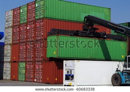 Container transport vehicle - stock photo