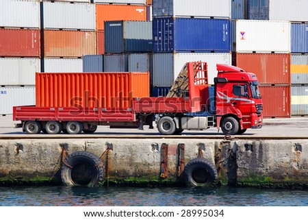 Container truck - stock photo