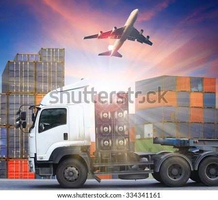container truck and freight cargo plane concept of  import-export commercial logistic ,shipping business industry  - stock photo