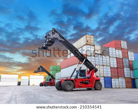 Container truck at dockyard and beautiful sky - stock photo