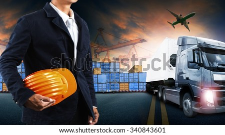 container truck ,ship in port and freight cargo plane in transport and import-export commercial logistic ,shipping business industry  - stock photo