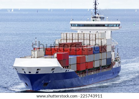 Container vessel at sea - stock photo