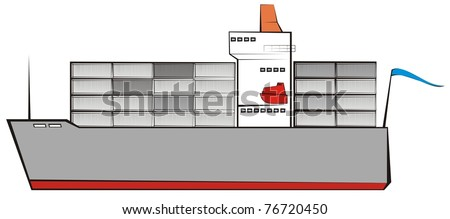 Container vessel color raster cartoon illustration - stock photo