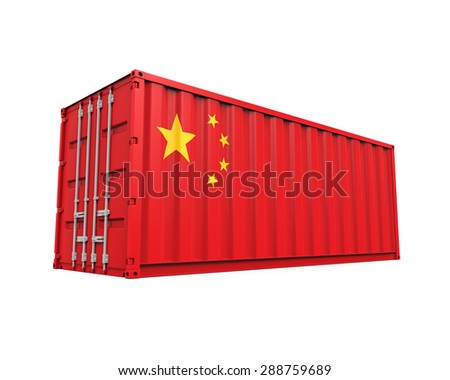Container with China Flag - stock photo