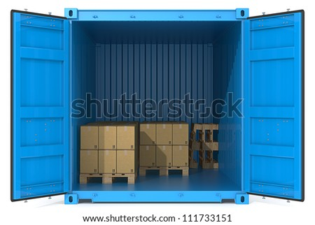 Container with goods. Blue Cargo Container. Open Doors. Pallets and Boxes. Front view.