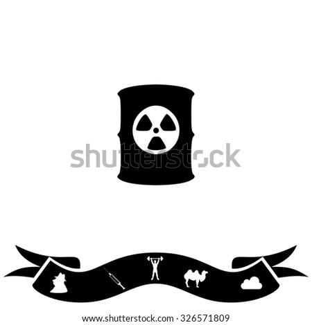 Container with radioactive waste. Black flat icon and bonus pictogram with ribbon. Illustration symbol on white background - stock photo