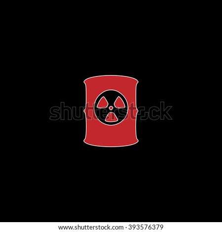 Container with radioactive waste. flat symbol pictogram on black background. red simple icon with white stroke - stock photo
