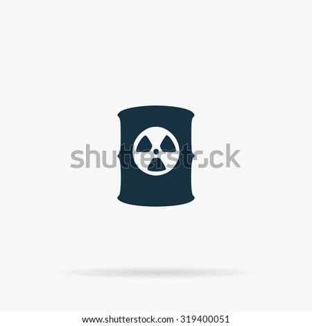 Container with radioactive waste. Flat web icon or sign on grey background with shadow. Collection modern trend concept design style illustration symbol - stock photo
