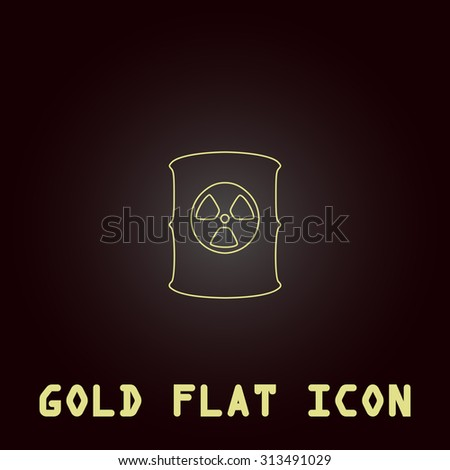 Container with radioactive waste. Outline gold flat pictogram on dark background with simple text. Illustration trend icon - stock photo