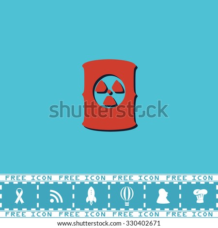 Container with radioactive waste. Red flat symbol with dark shadow and bonus icon. Simple illustration pictogram on blue background - stock photo