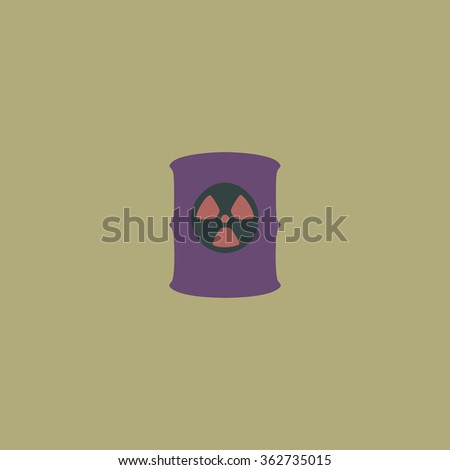 Container with radioactive waste. Simple flat color icon on colorful background - stock photo