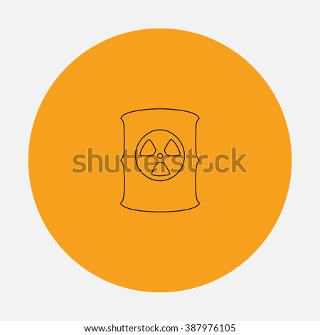Container with radioactive waste. Simple flat icon on orange circle - stock photo