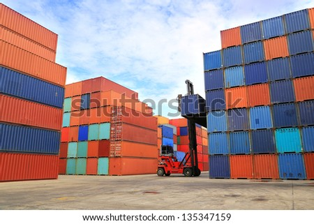 Container yard - stock photo