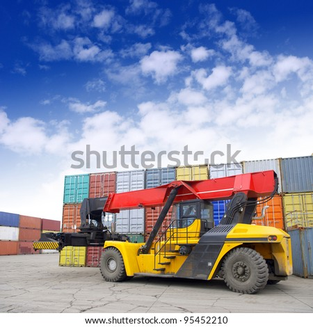 Containers and stackers - stock photo