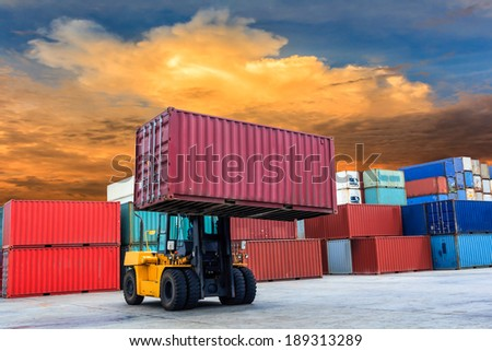 Containers at port of Laem Chabang in Thailand - stock photo