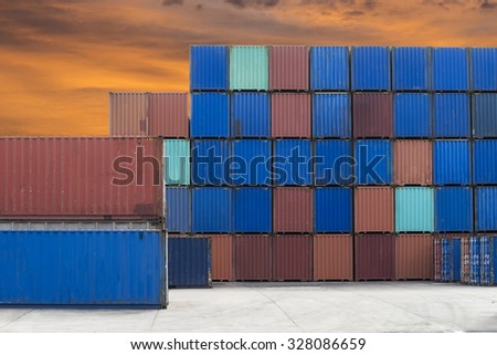 Containers box in port - stock photo