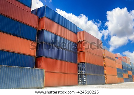 Containers box stacking in location for transportation - stock photo