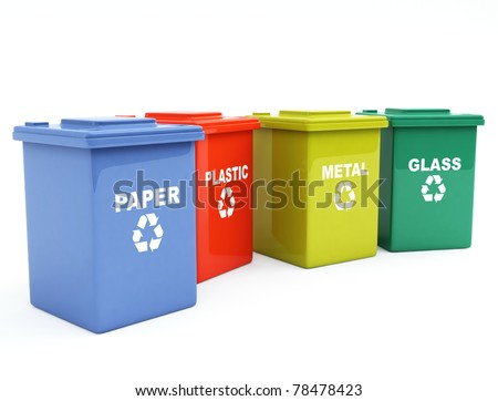 containers for recycling - stock photo